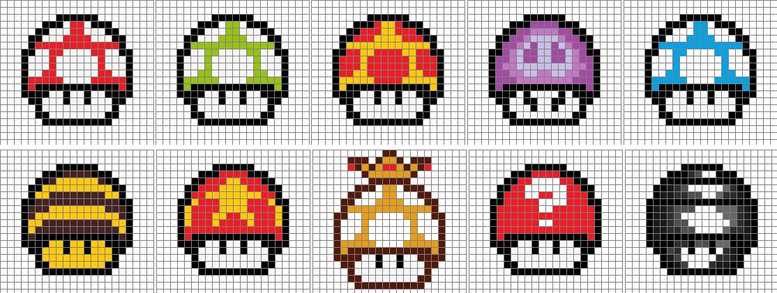 8-Bit Mario Mushrooms - 10 p. by aniles18 on DeviantArt