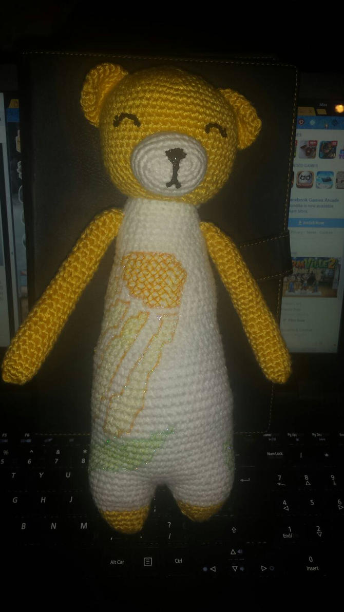 Yellow floral bear  by TehKnittyKitty
