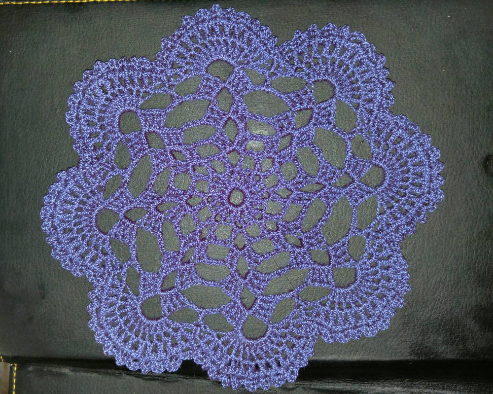 blue doily  by TehKnittyKitty