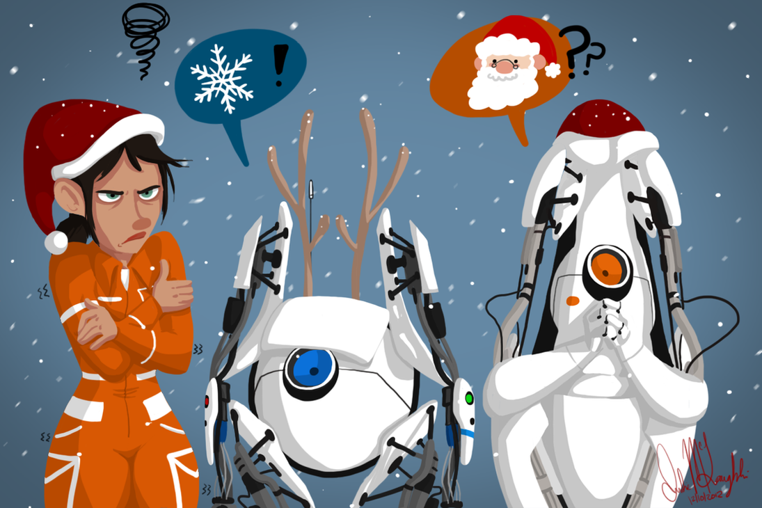 Portal Christmas Card by Wolf-Shadow77