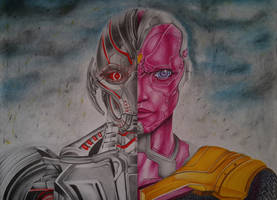 Ultron Vs Vision by CursedMadara