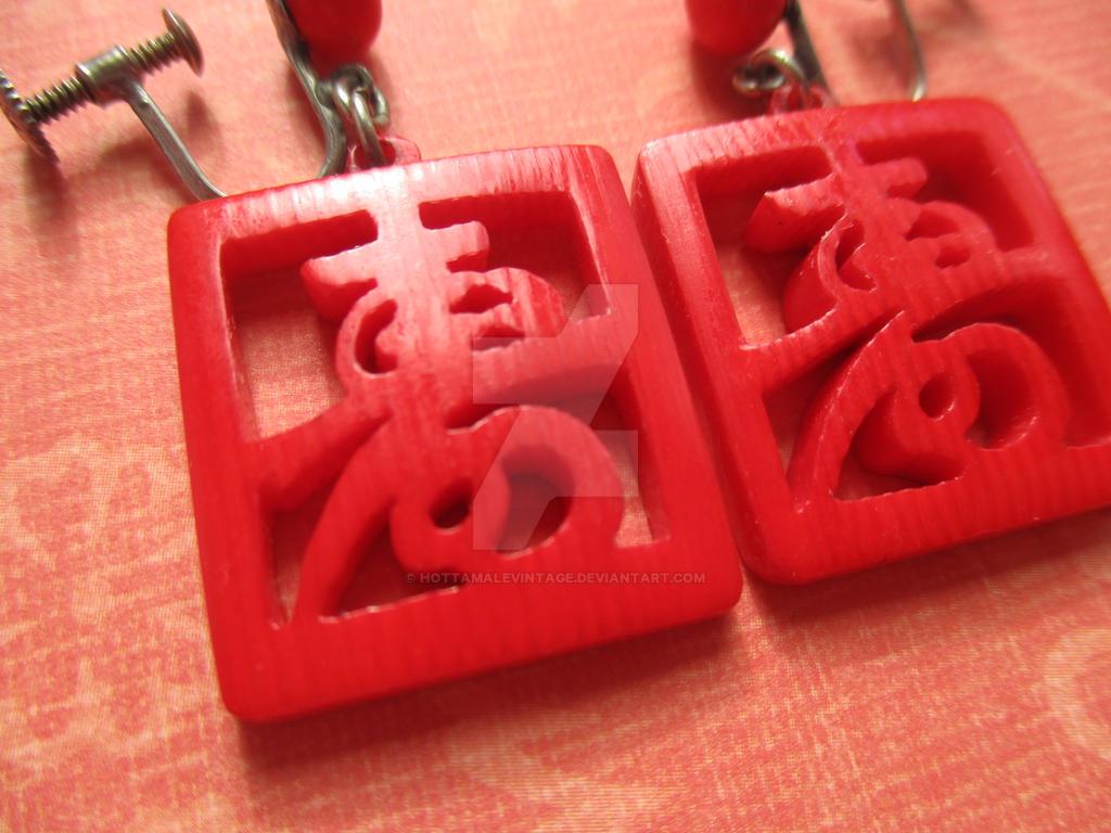 Vintage Oriental Earrings FOR SALE by HotTamaleVintage