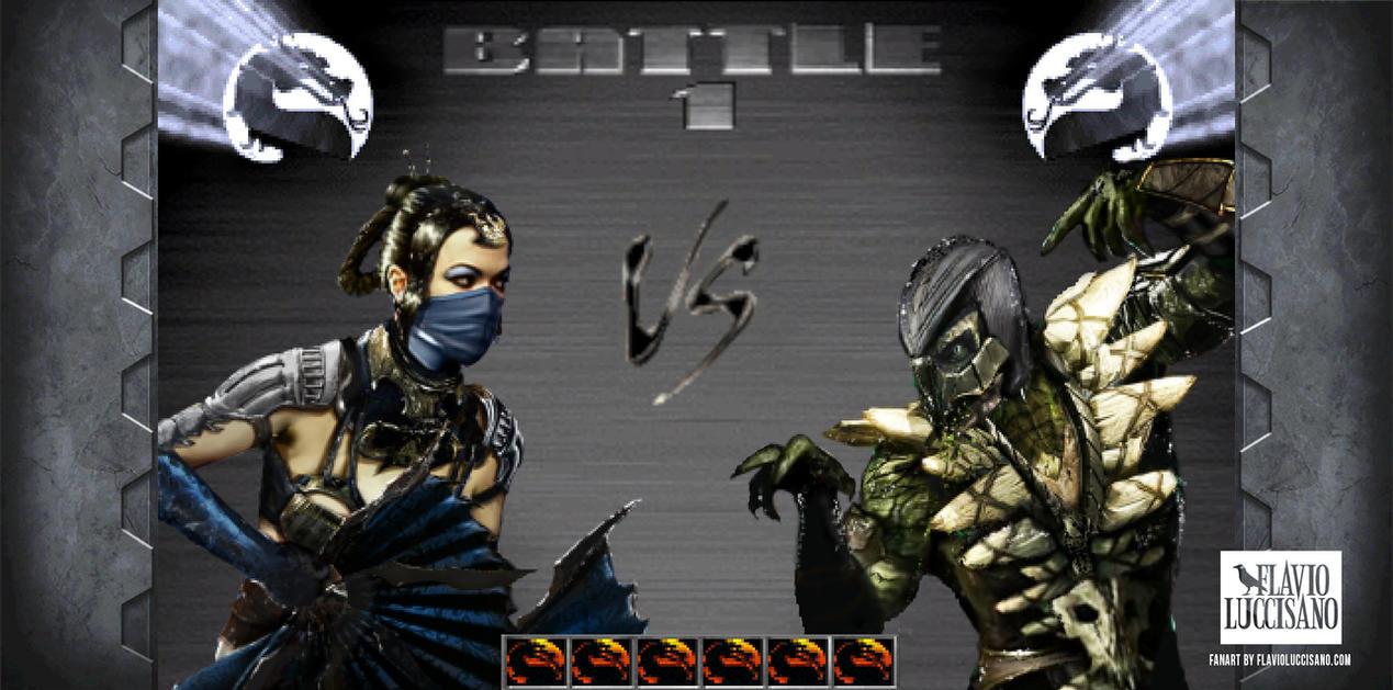 Kitana VS Reptile (Retro Mortal Kombat X) by flavioluccisano