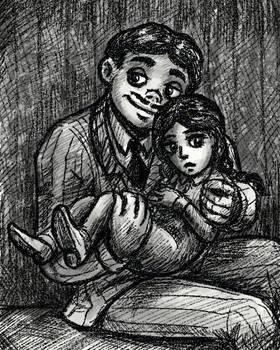 Gomez and Wednesday Addams