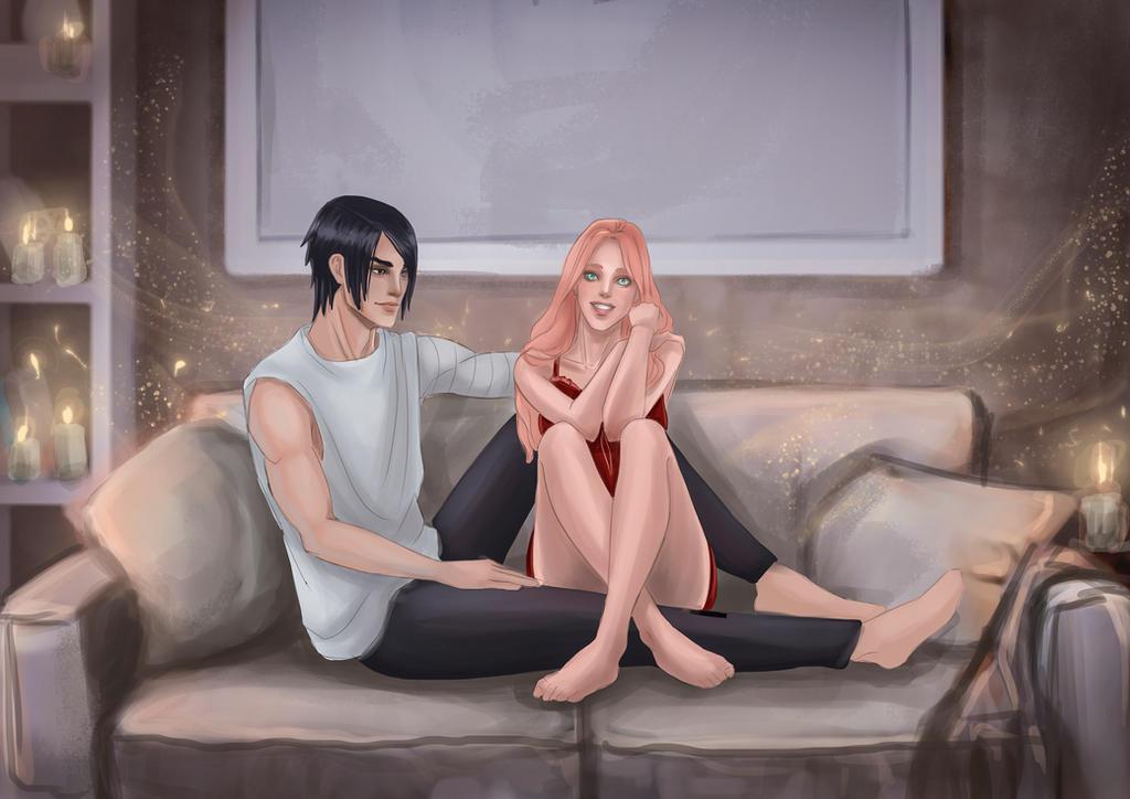 Sasuke and Sakura pajama party by Angela-Narish
