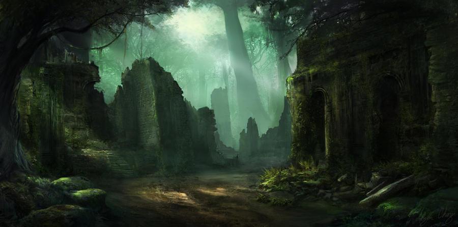 Image result for fantasy forest ruins concept art