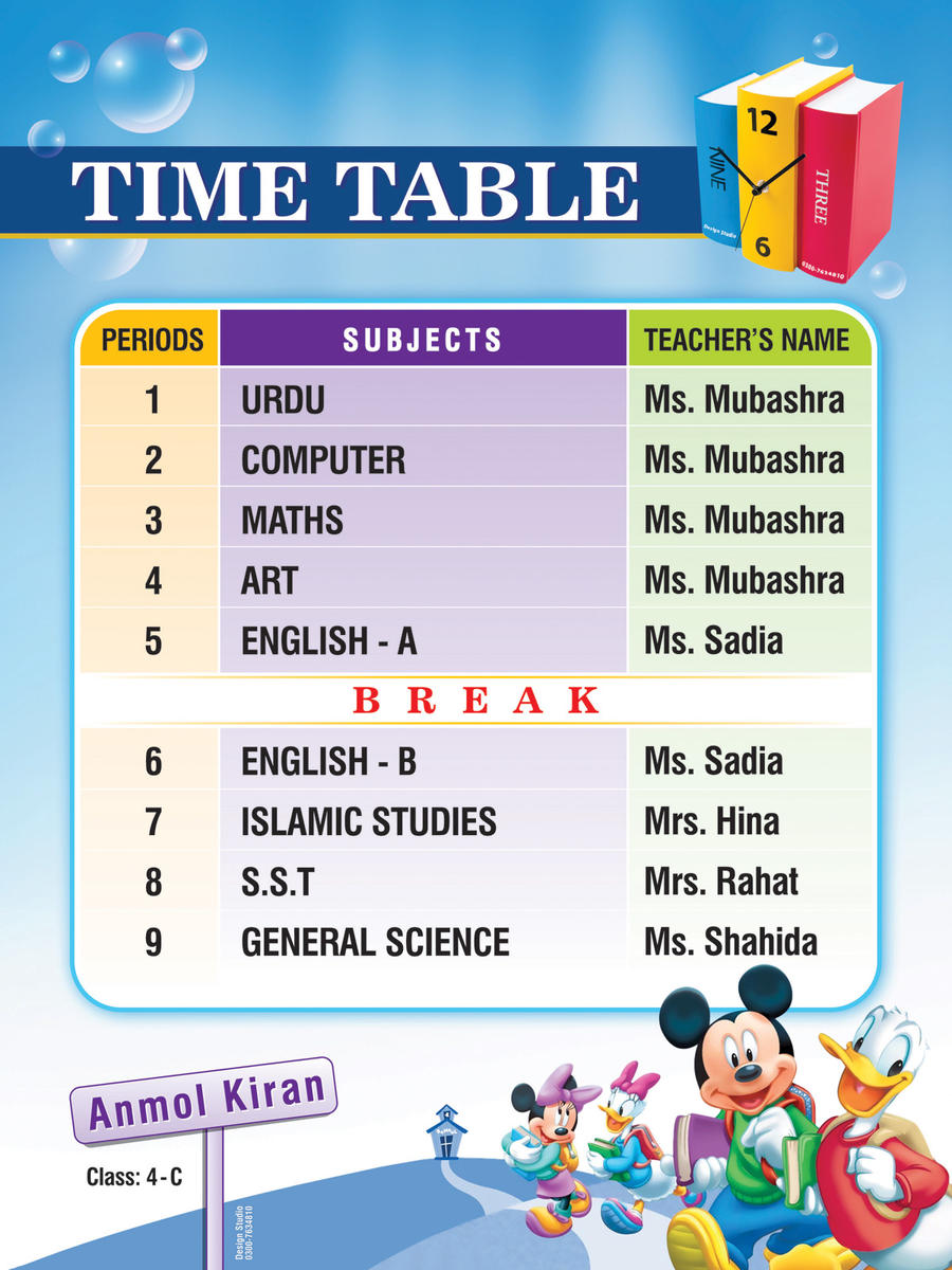 Time Table design by Shaket on DeviantArt – School Time Table Designs