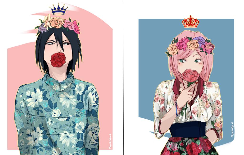 SasuSaku :FlowerCrowns: by monzaibu