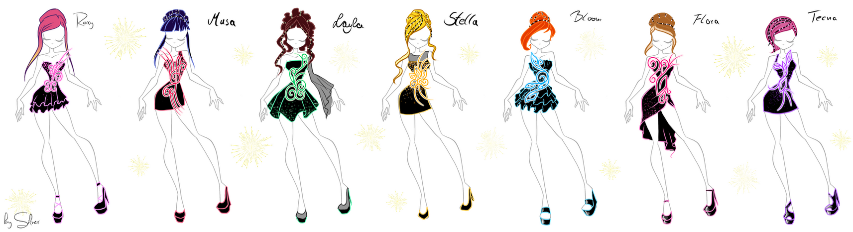 winx and roxy fireworkdress sketches by coloralecante