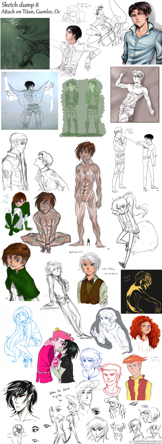 Sketch dump 8 AoT, Gumlee, Oc and more by Coloralecante