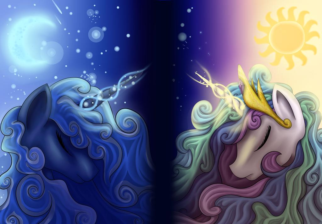 princess luna and celestia wallpaper version by ellen124