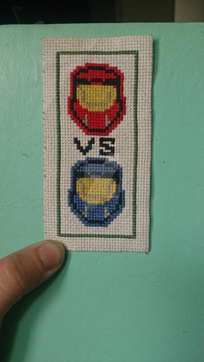 Red vs blue cross stitch by alecia on deviantart