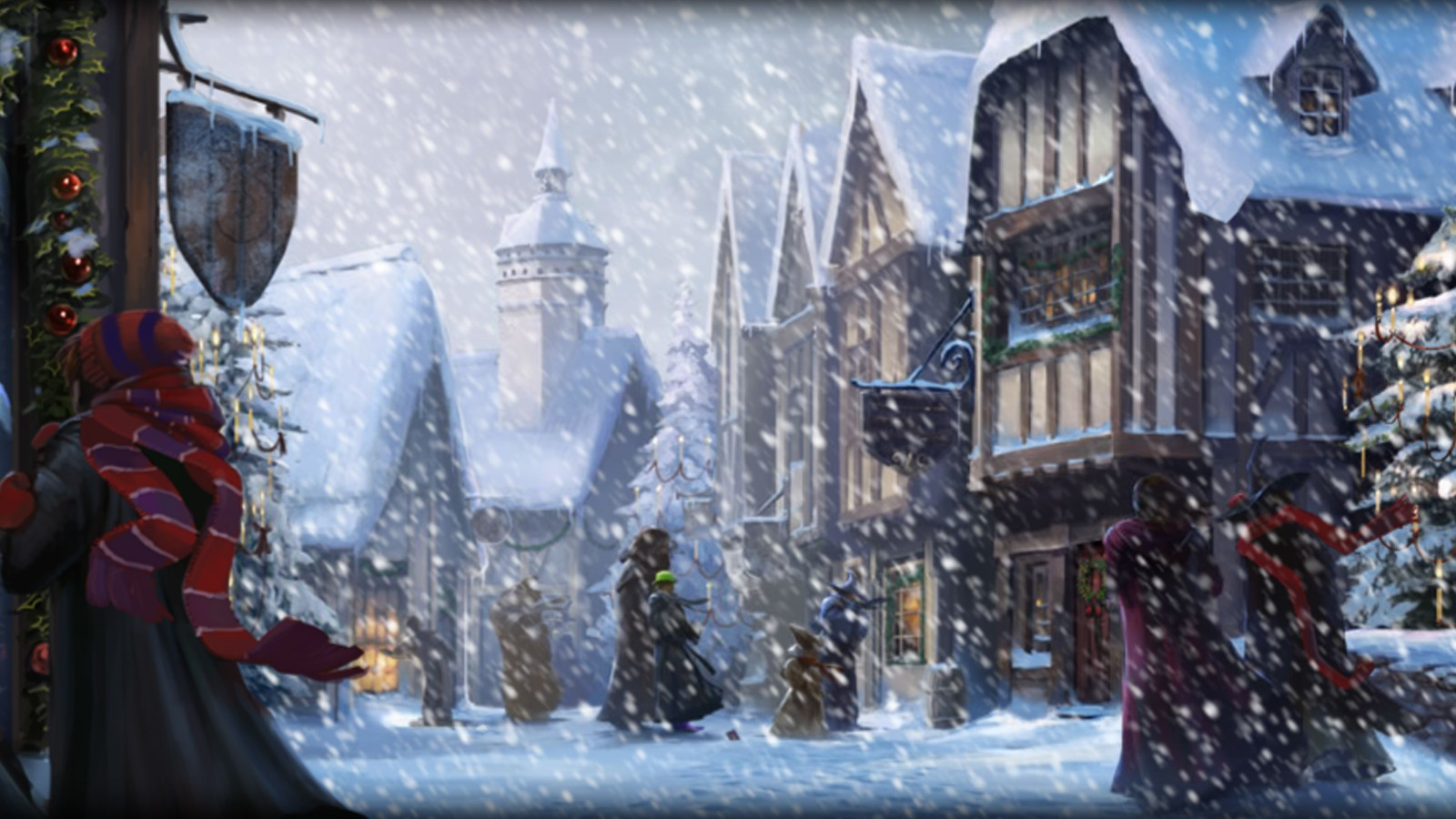Pottermore Background: Hogsmeade at Christmas by xxtayce on DeviantArt