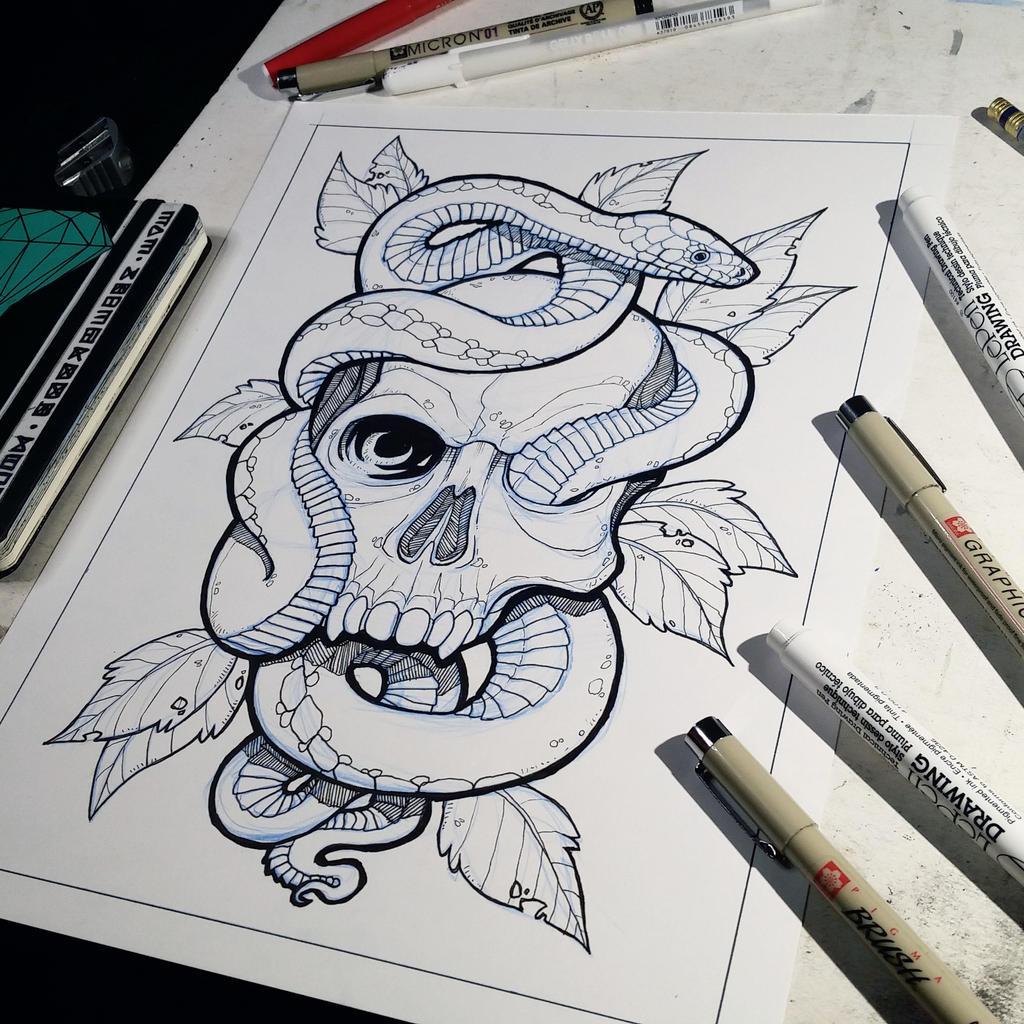 Snake Tattoo Line Drawing : Skull and snake lineart by jakemorrison on deviantart