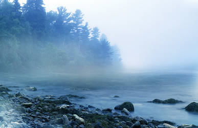 UNRESTRICTED - Misty Morning Lake by frozenstocks
