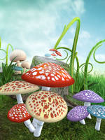 UNRESTRICTED - Mushroom Magic Land Background by frozenstocks