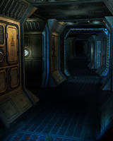 RESTRICTED - Spaceship Corridor Background by frozenstocks