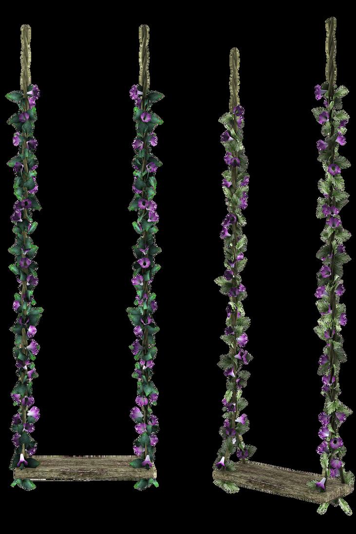 Unrestricted Purple Flowers Swing By Frozenstocks On