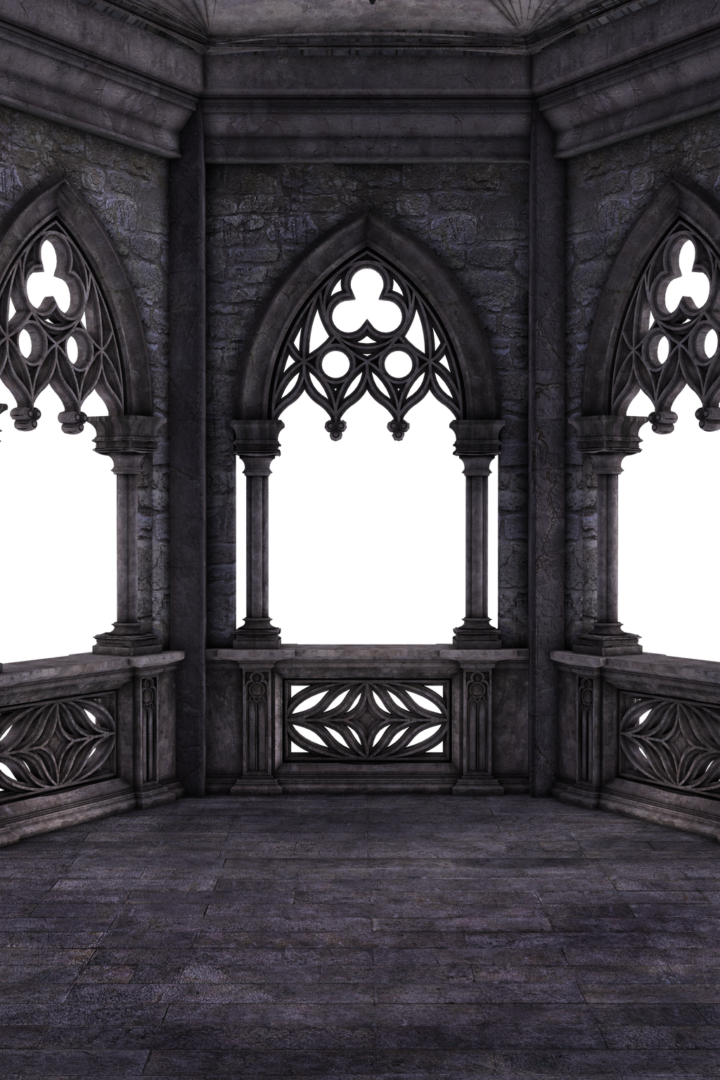 Restricted dark gothic balcony 02 by frozenstocks on for Premade columns