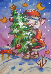 Pig Santa Claus by Dilstar