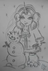 Quicksilver  sculpts a snowman by Dilstar