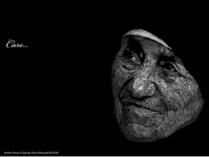 Mother Teresa in Type by Dencii