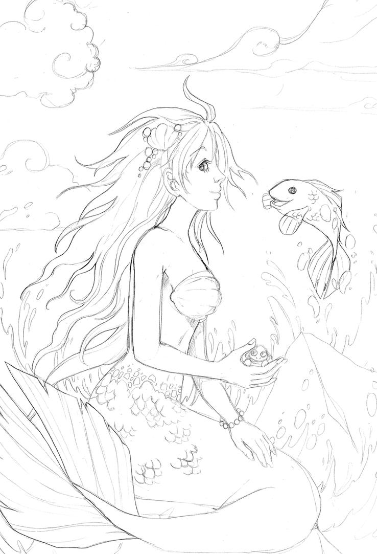 Little mermaid sketch by dar chan on deviantart for Realistic mermaid coloring pages