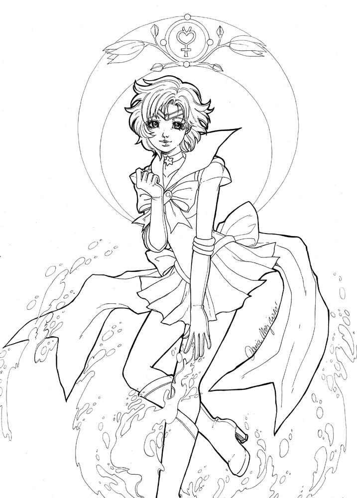 Sailor Mercury Lineart By Dar Chan On Deviantart Sailor Mercury Coloring Pages