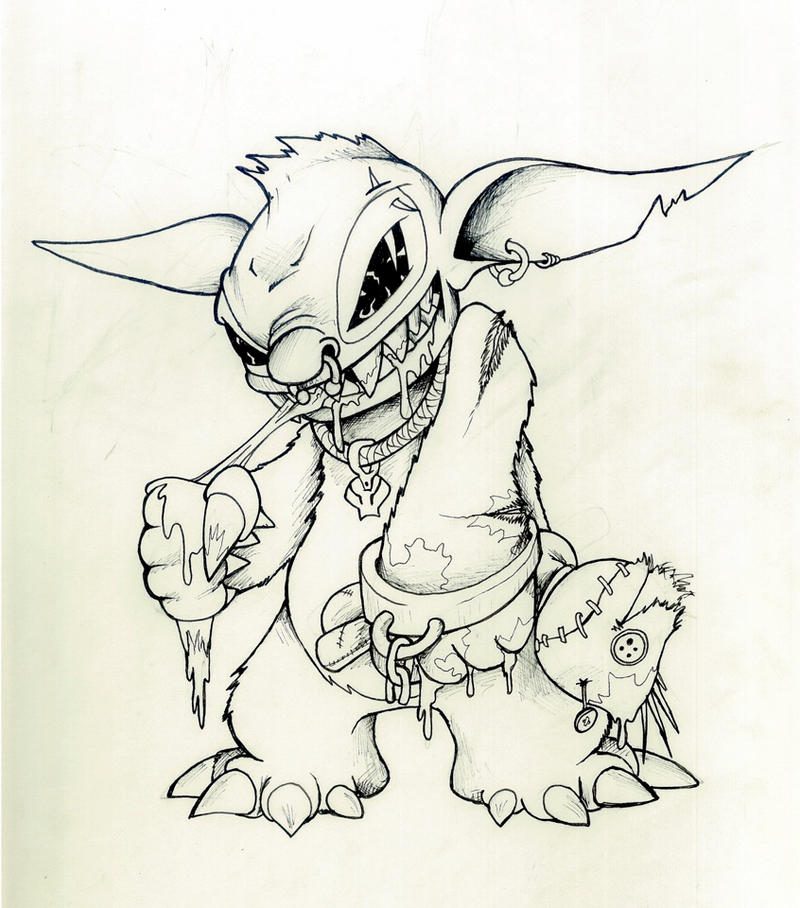 Zombie Disney Characters Drawings Zombie Stitch (1st sca...
