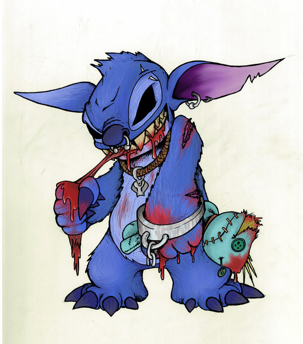 Zombie Stitch (Cartoon Line/colour) by S3KnoT on DeviantArt