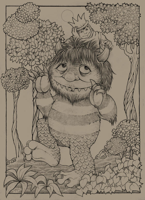 Where the wild things are by ultravioletlights on deviantart for Where the wild things are black and white coloring pages