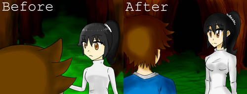 Mura Oni Art Style - Before and After by kirbybabbo