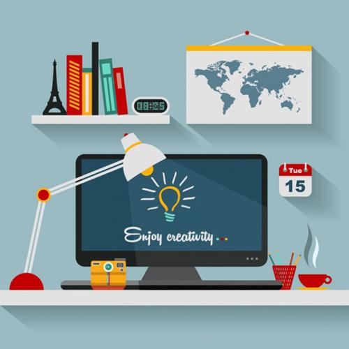 Office Flat Vector Illustration by Designslots