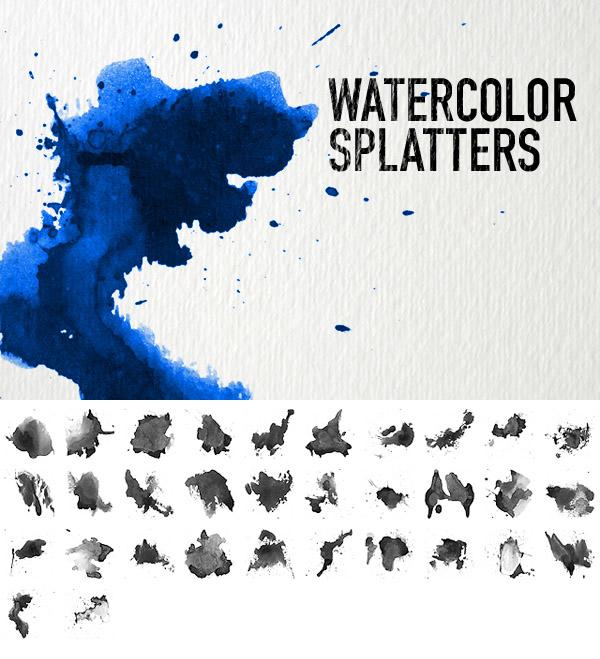Free Watercolor Splatters by Designslots
