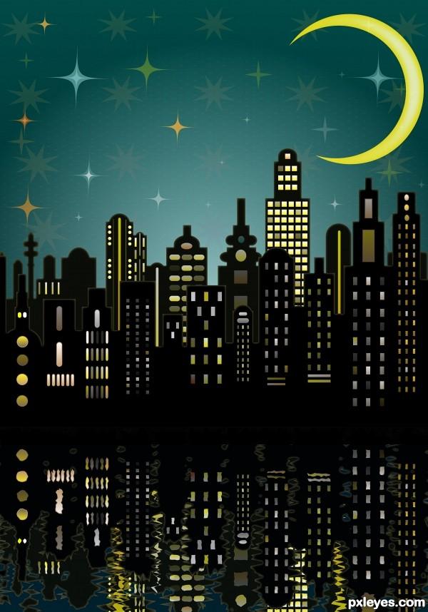 рисунок ночного города на стене