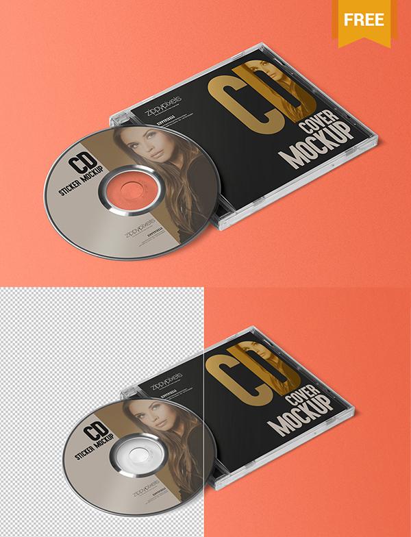 Free CD Jewel Case  Label Sticker Mockup by Designslots