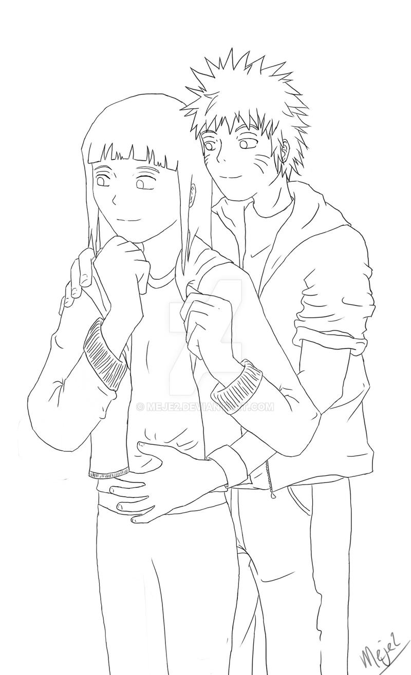 One Line Text Art Hug : Lineart naruhina hug by meje on deviantart