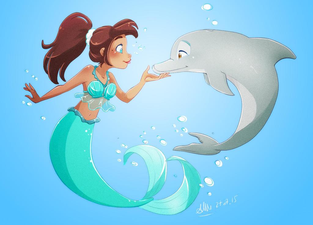 .: Dolphin and Mermaid :. by xSkyeCrystalx