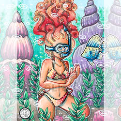 #242 Snorkelling by Angelia-Arts