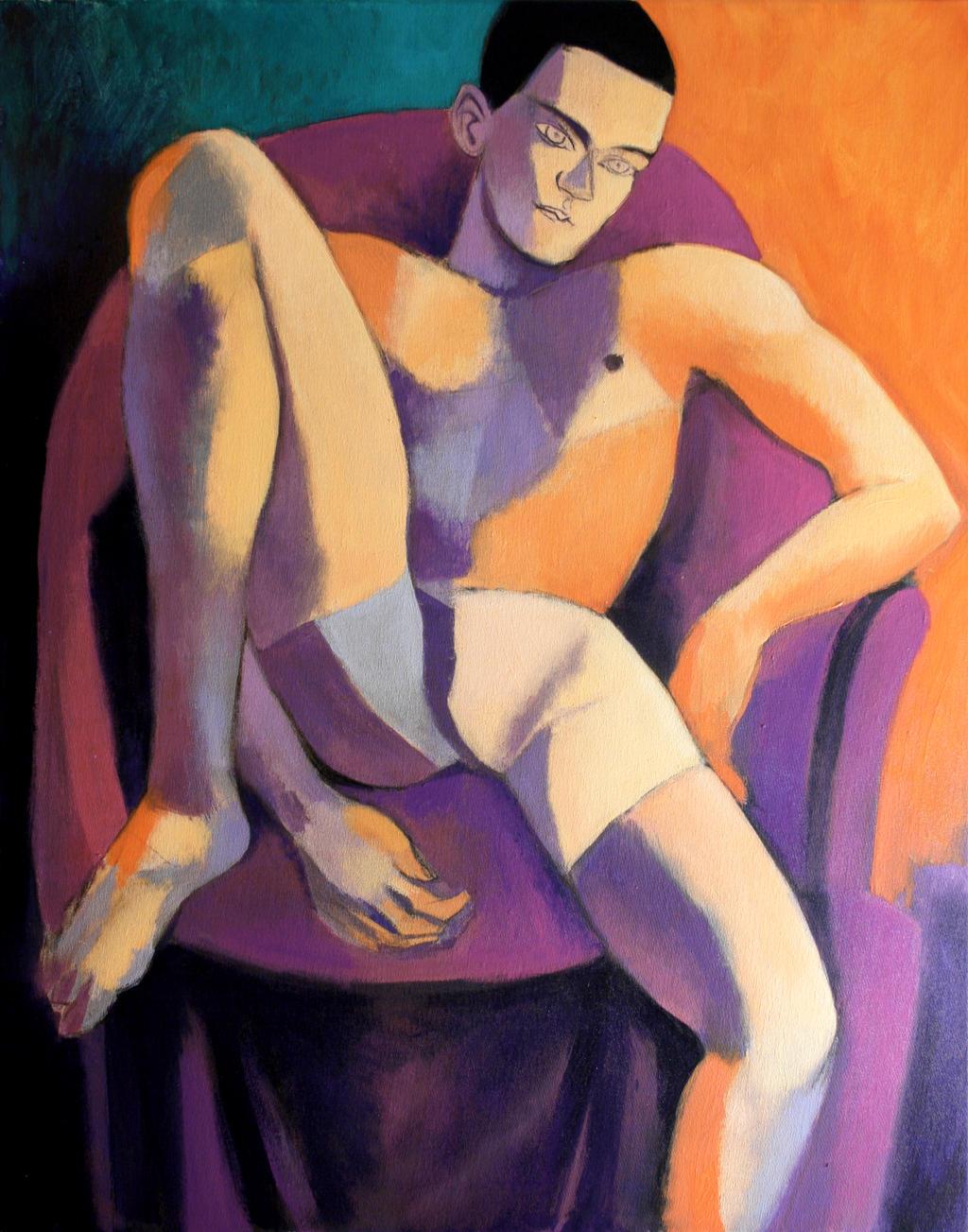 violet and orange nude by JuliuszLewandowski