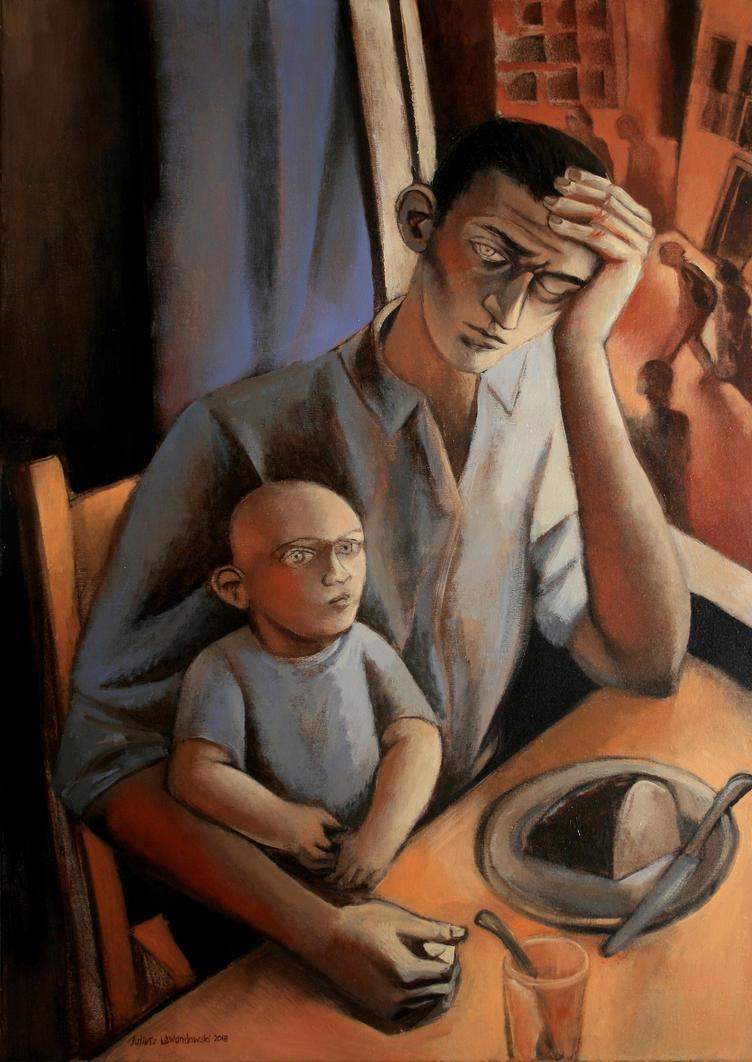 worker with child by JuliuszLewandowski