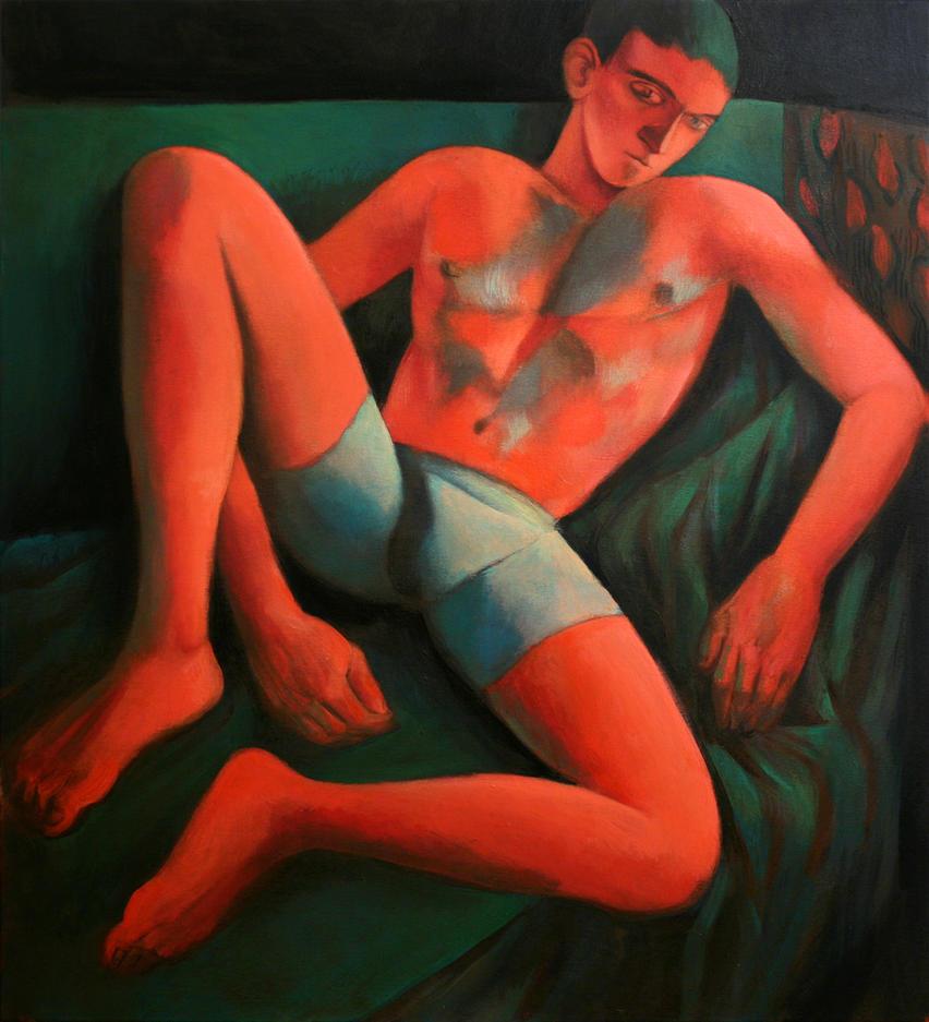 red on green nude by JuliuszLewandowski