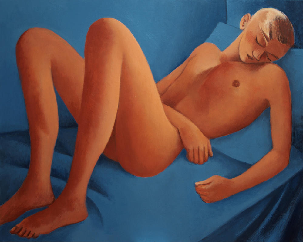 92x73 nude on blue by JuliuszLewandowski