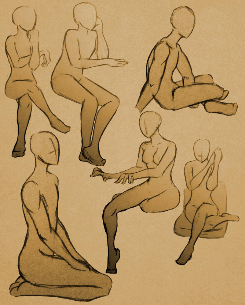Sitting Poses 2 by GlassLotuses on DeviantArt