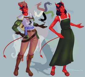 Tiamat the Tiefling Pirate by GlassLotuses