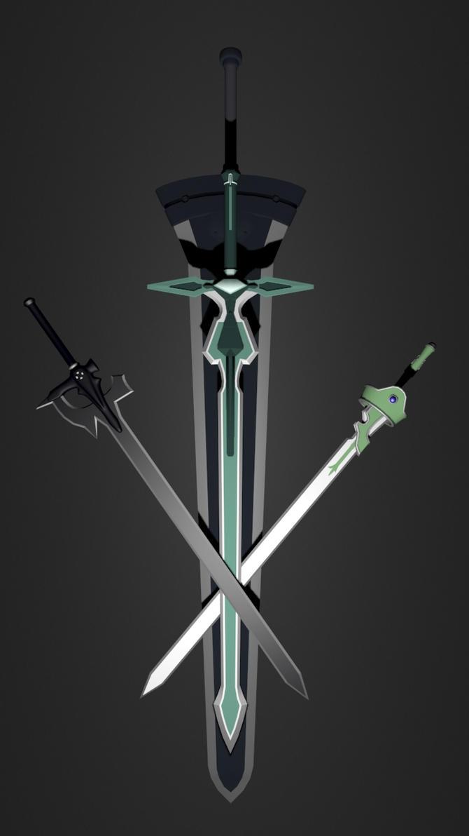 Kirito swords wallpaper by newsin on deviantart for Minimal art online