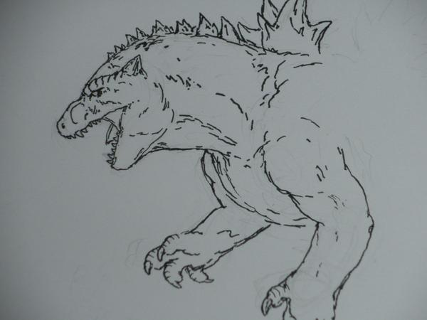 Godzilla sketch... by hayncobra