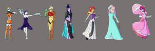 The Rainbooms as Nintendo Princesses by jongoji245