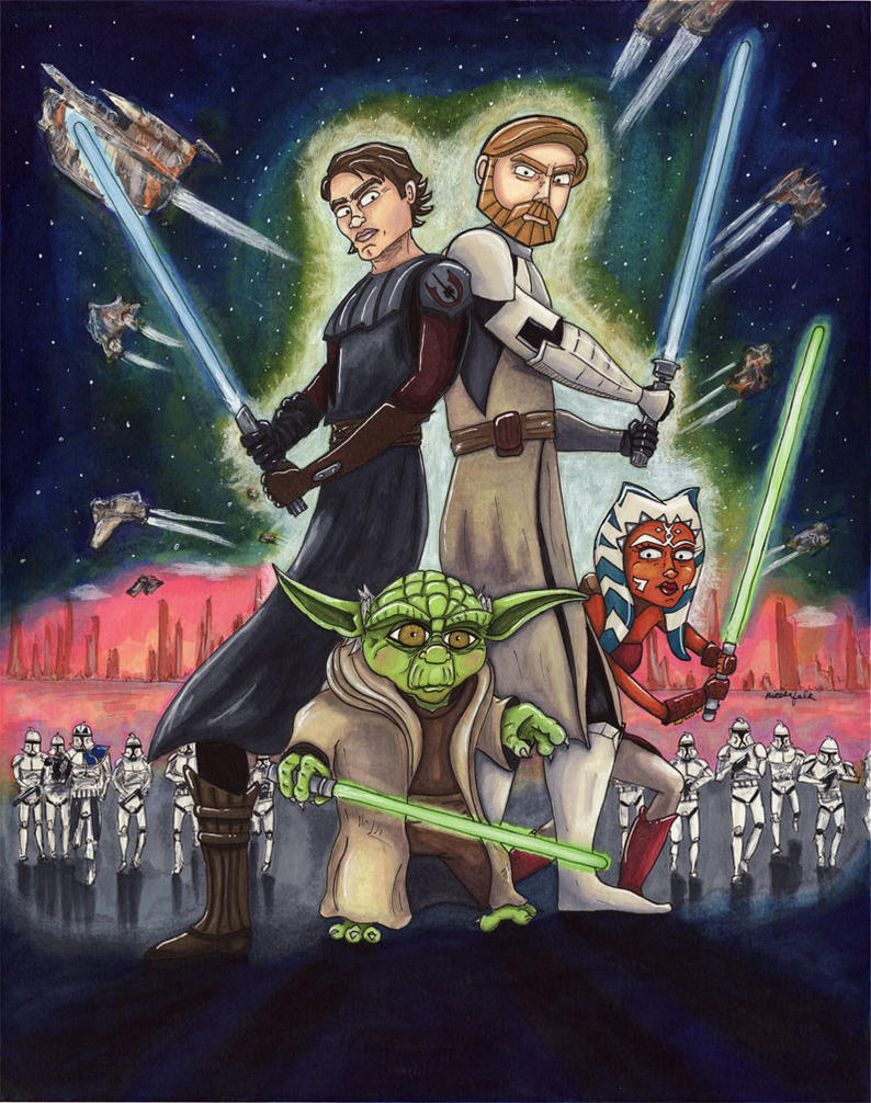 Star Wars Clone Wars Poster by FaerieShadows