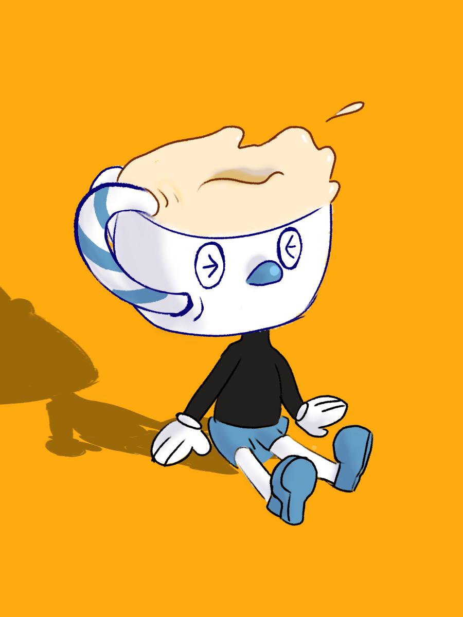 Mugman drinks himself by larisa203